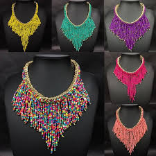 choker necklace charms images Charms womens jewelry seed beads tassel choker collar bib jpg
