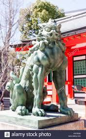 lion dog statue japan ikuta shrine statue guardian lion dog komainu in