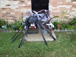 trash bag spider halloween yard decoration halloween