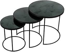 round nesting coffee table buy charcoal heavy aged mirror round nesting side table set of 3