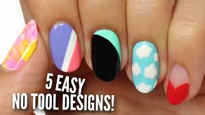 no tool nail art 5 easy u0026 cute designs youtube