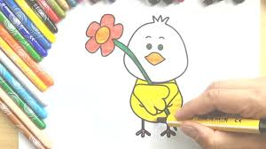 learn how to draw cute bird with flower drawing colours for kids