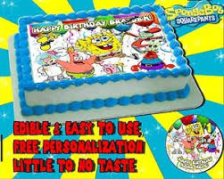 spongebob squarepants cake spongebob squarepants cake topper edible picture birthday sugar
