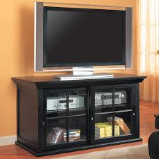 Multimedia Cabinet With Glass Doors Tv Stands Transitional Media Console With Sliding Glass Doors