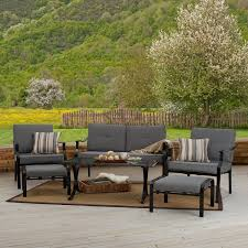 Patio Recliner Chair by Grey Fabric Padded Patio Reclainer With Black Painted Wrought Iron