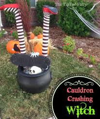 halloween witch pot halloween outdoor decorations it u0027s a witch crashing the tiptoe