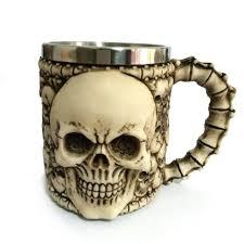 Halloween Cups Aliexpress Com Buy 1pcs 3d Skull Mug Stainless Stell Liner