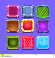 colorful gems flash game element templates design set with square