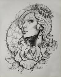 zombie pin up and roses tattoo sketch in 2017 real photo