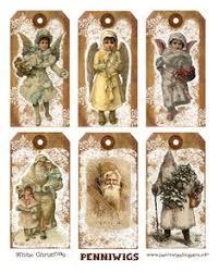 free printable vintage christmas cats tags print collage sheet