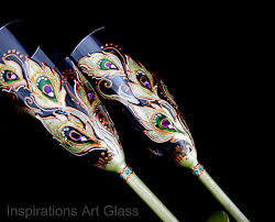 Wedding Gift Glasses Peacock Champagne Flute Hand Painted Glasses Painted Toasting
