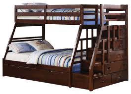 Wooden Bunk Bed With Stairs Catchy Bunk Beds With Stairs And Trundle Adarn Espresso Wood
