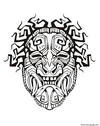 mask inspiration inca mayan aztec 1 coloring pages printable