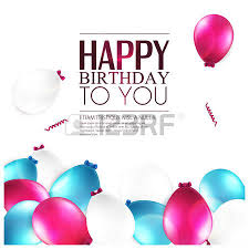 birthday card with balloons and birthday text royalty free