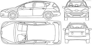 peugeot 407 sw 2005 peugeot 407 sw wagon blueprints free outlines