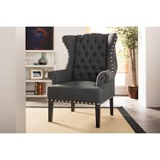 baxton studio knuckey french country grey linen nail head wing