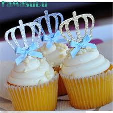 custom cupcake toppers 10pcs custom bow color gold silver blue glitter crown cupcake