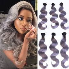 silver hair extensions new arrival grey ombre human hair extensions two tone color 1b
