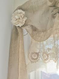 How To Sew Burlap Curtains Burlap Window Treatments Close Up Of The No Sew Burlap Window