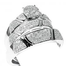 trio wedding sets 1ct diamond his and trio wedding rings set 10k white gold mens