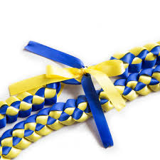 blue and yellow ribbon ribbon braided necklace royal blue yellow a tangible thought