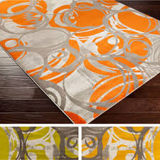 Area Rugs Orange Aiden Contemporary Dots Area Rug 5 2 X 7 6 5 2 X 7 6 Free