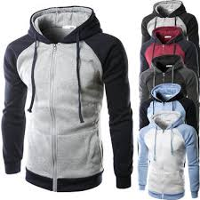 men sping fall cotton blend colors patchwork two tone zipper