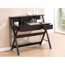 Desk With Outlets by Mott Dark Brown Wood Modern Desk With Sawhorse Legs Small By