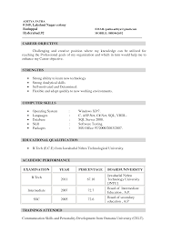 Sample Resume Objectives Retail by Resume Template For Fresher 10 Free Word Excel Pdf Example Of