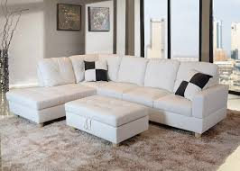 White Leather Storage Ottoman Furniture White Leather 3 Sectional For Modern Living Room