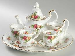 country roses tea set country roses 9 pc in box miniature tea set by royal albert