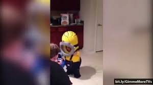 Baby Minion Costume Funny Baby Moments Cute Baby In Minion Costume For Halloween