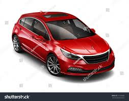 Compact Design Red Generic Compact Car 3d Render Stock Illustration 512160283