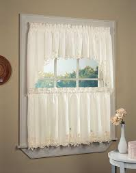 small white kitchen curtain white wood frame window with stained