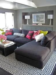modern gray living room design with charcoal gray sectional sofa