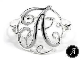 monogram initial bracelet initial a monogram designer silver tone filigree wire