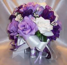 wedding flowers ebay silk bridal bouquet package purple lavender white