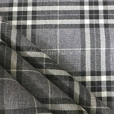 Black And White Check Upholstery Fabric Light Grey Tartan Stripe Check Pattern Texture Weave Chenille