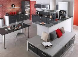 briques cuisine deco cuisine grise et gris anthracite lapeyre mur briques