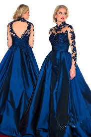 free shipping 2014 long sleeves prom dresses court train high neck