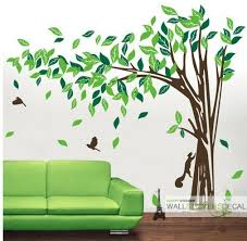 cheap home wall decor elegant tree with bird rabbit vinyl wall sticker home decor