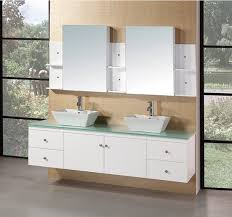 72 Inch White Bathroom Vanity by Design Element Portland Double 72 Inch Modern Wall Mount