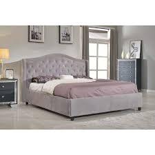 Gray Platform Bed Skyline Tufted Nail Button Wingback Velvet Upholstered Bed Hayneedle