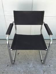 Buy Mid Century Modern Furniture by Unsigned Arper Italian Black Leather Chrome Chair Vintage Mid
