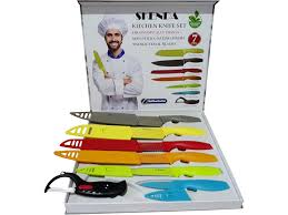 skenda 7pcs color kitchen knives set 6 world class quality