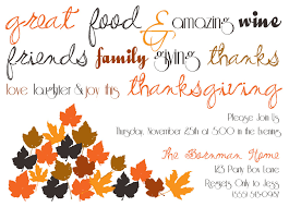 easy thanksgiving dinner invitation card sle with decorative