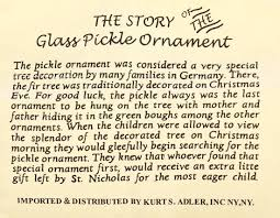 german pickle tradition of the german pickle ornament