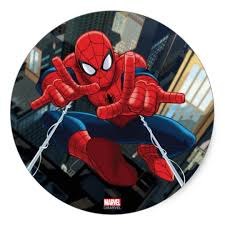spider man shooting web high above city classic round sticker