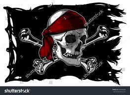 Picture Of A Pirate Flag Black Ragged Pirate Flag Skull Bones Stock Vektorgrafik 658395568