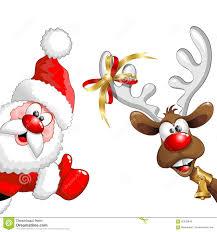 christmas reindeer and santa fun cartoons stock vector image